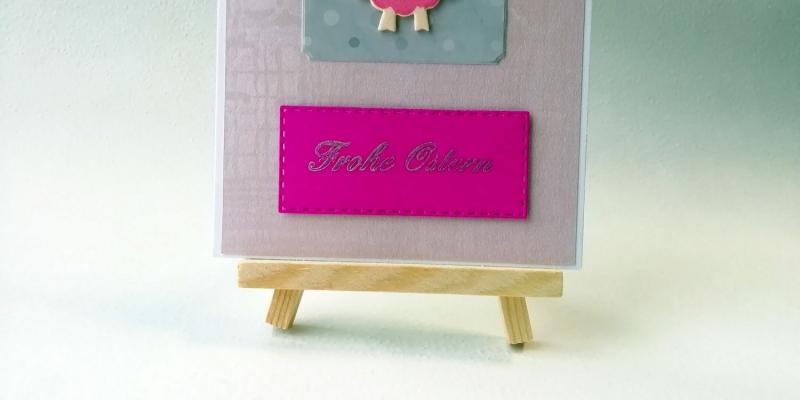 Kleinesbild - Grußkarte, Karte zu Ostern, Osterkarte, pink, rosa, Schaf, ca. 10,5 x 15 cm