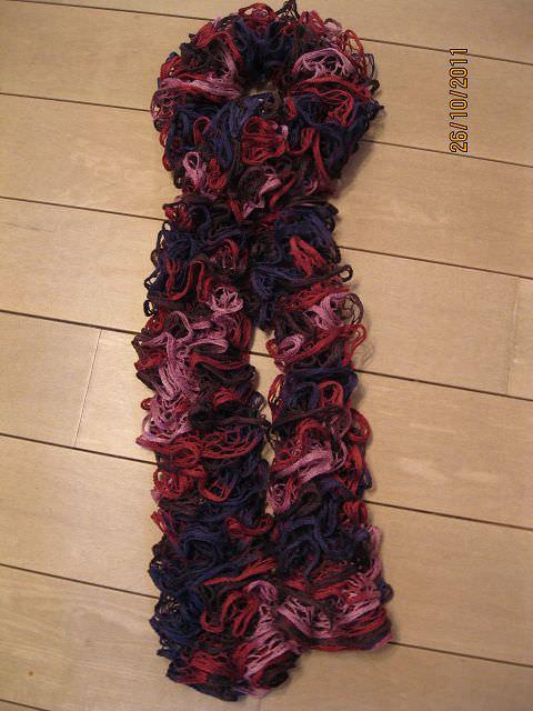 Kleinesbild - Rüschen-Schal in flieder bis pink