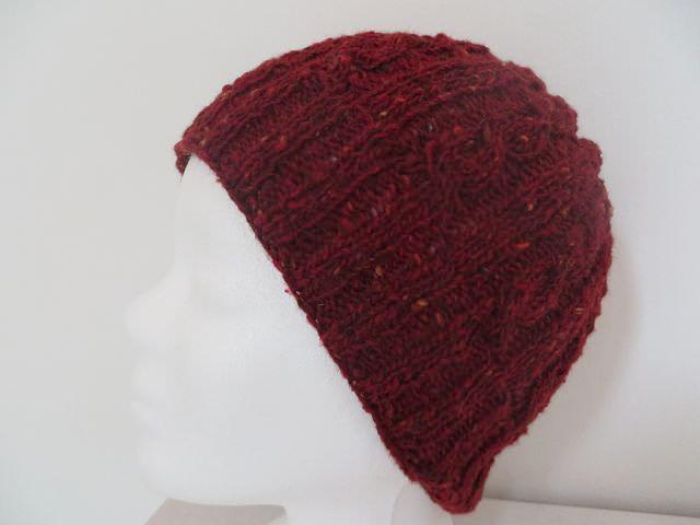 Kleinesbild - Tweedmütze gestrickt dunkelrot