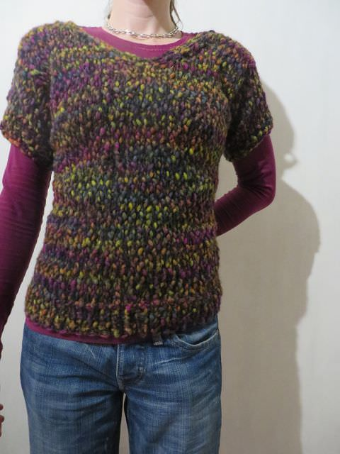 - Kurzarm-Pullover mit V-Ausschnitt bunt - Kurzarm-Pullover mit V-Ausschnitt bunt