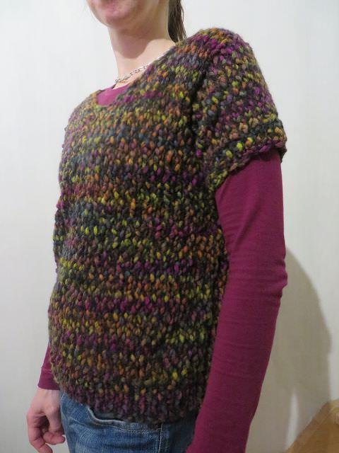 Kleinesbild - Kurzarm-Pullover mit V-Ausschnitt bunt