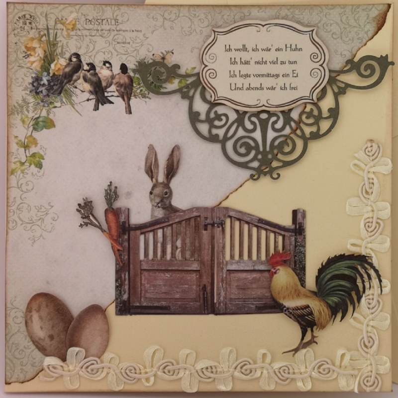 Kleinesbild - ♥ Osterkarte * Grußkarte * Ostern * Osterhase * Frühling * Nostalgie * Klappkarte quadratisch * Ostergrüße * Frühlingsgrüße * Hahn * Ostereier ♥