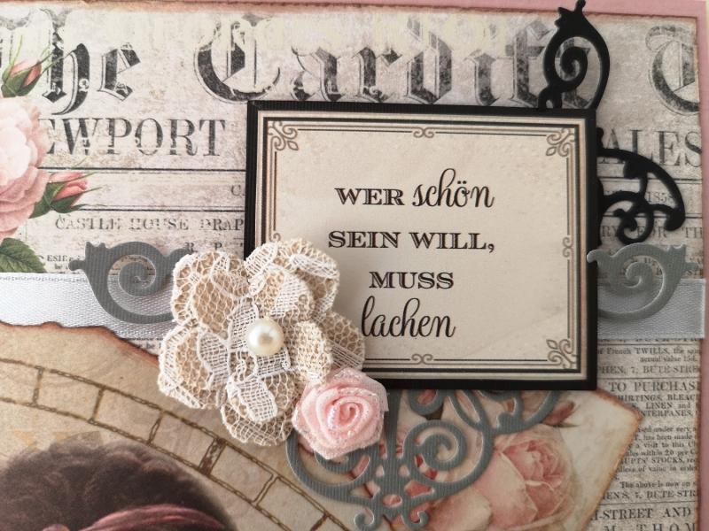 Kleinesbild - Grußkarte ♥ Wer schön sein will, muss lachen ♥ gebastelt aus Designpapier im Vintagestil kaufen ♡Nostalgie♡ Valentinstag