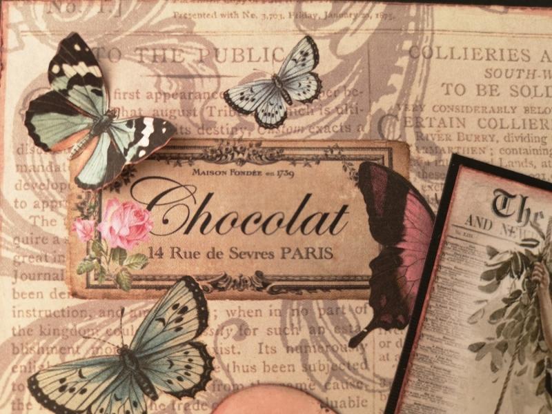 Kleinesbild - Grußkarte ♥ für dich ♥ gebastelt aus Designpapier im Vintagestil kaufen ♡Nostalgie♡ Valentinstag, Muttertag, Geburtstag