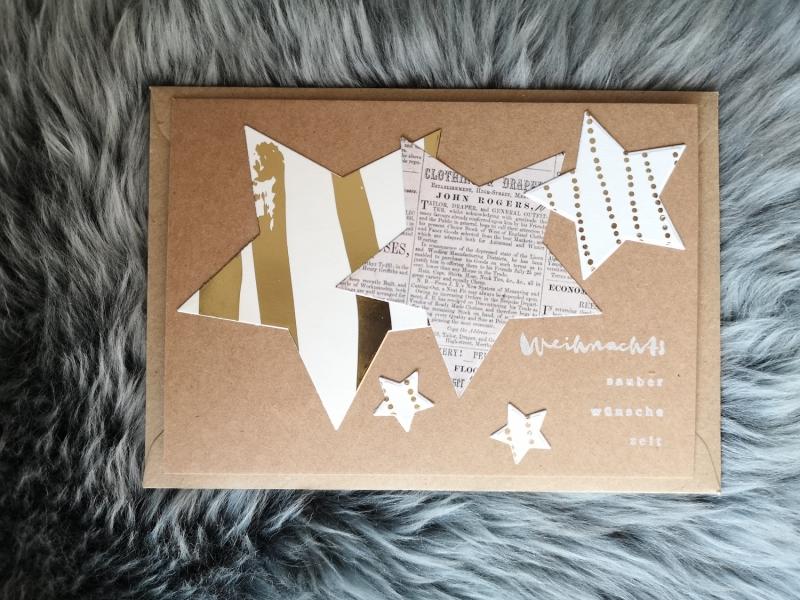 - Weihnachtskarte ★ WEIHNACHTSZEIT ★ mit Briefumschlag, aus Recyclingpapier - Weihnachtskarte ★ WEIHNACHTSZEIT ★ mit Briefumschlag, aus Recyclingpapier