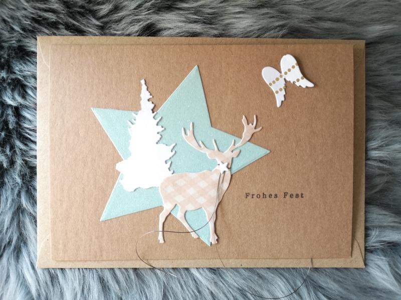 - Weihnachtskarte ★ FROHES FEST IV ★ mit Briefumschlag, aus Recyclingpapier - Weihnachtskarte ★ FROHES FEST IV ★ mit Briefumschlag, aus Recyclingpapier