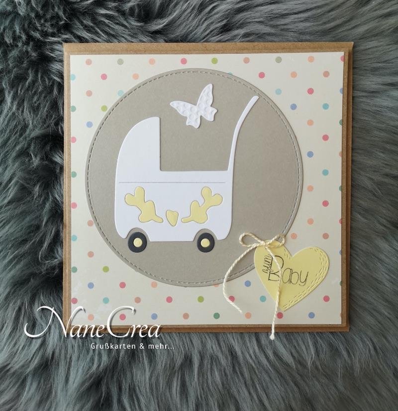 - Grußkarte quadratisch ♥ ZUM BABY ♥ mit Briefumschlag, aus Recyclingpapier - Grußkarte quadratisch ♥ ZUM BABY ♥ mit Briefumschlag, aus Recyclingpapier