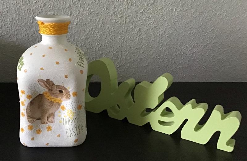 Kleinesbild -  Leuchtflasche ♥ Vase ♥️ Osterhase ♥ upcycling ♥ Unikat- Ostern