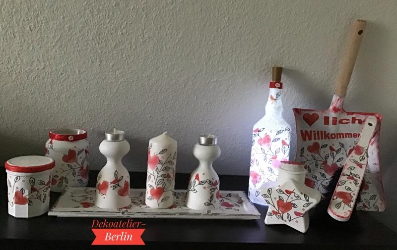 Kleinesbild -   Teelichtglas ♥ Herzen ♥️ Geschenk ♥️ upcycling ♥ Unikat -  Herzen mit Vögeln