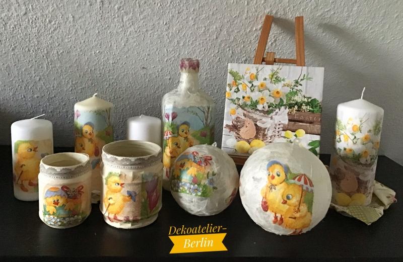 Kleinesbild -  2 er Set Teelichtglas ♥ Herzen ♥️ Geschenk ♥️ upcycling ♥ Unikat - Osterküken