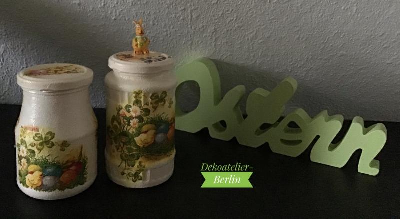 Kleinesbild - Aufbewahrungsgläser 2 er Set ♥  handmade ♥️ upcycling ♥ Unikat -  Ostern