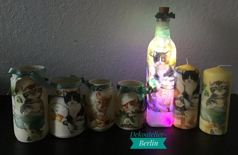 Kleinesbild -  4 er Set Teelichtglas ♥ Herzen ♥️ Geschenk ♥️ upcycling ♥ Unikat - Katzen bunt