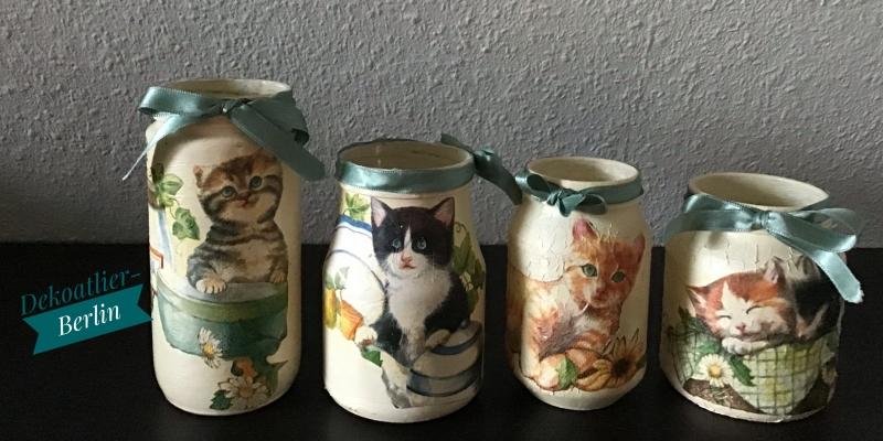 -  4 er Set Teelichtglas ♥ Herzen ♥️ Geschenk ♥️ upcycling ♥ Unikat - Katzen bunt -  4 er Set Teelichtglas ♥ Herzen ♥️ Geschenk ♥️ upcycling ♥ Unikat - Katzen bunt