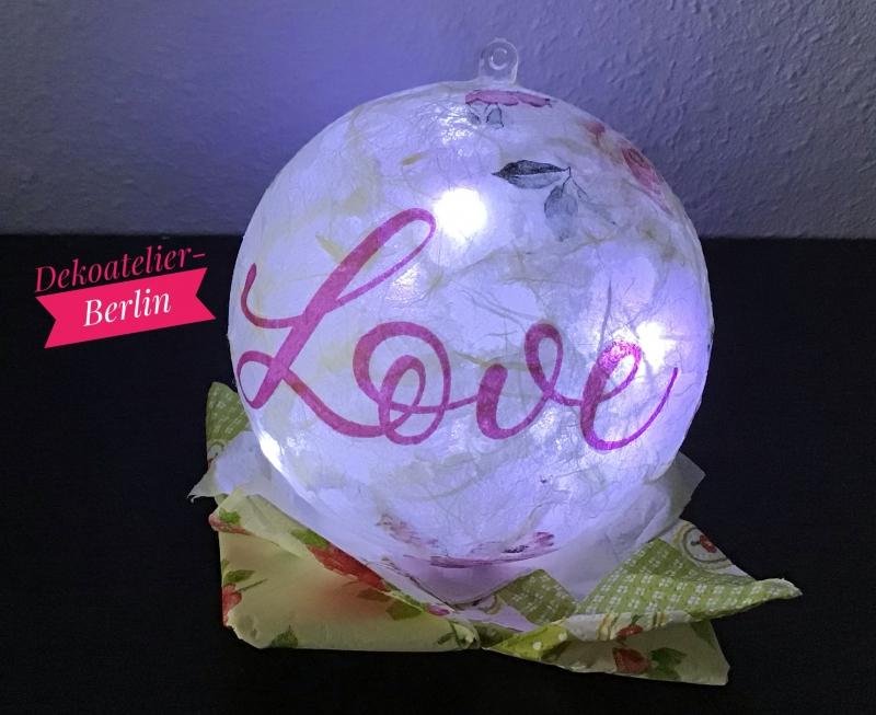 - Leuchtkugel ♥ Einzigartig♥ Geschenk ♥ upcycling ♥ Unikat  -  Love - Leuchtkugel ♥ Einzigartig♥ Geschenk ♥ upcycling ♥ Unikat  -  Love