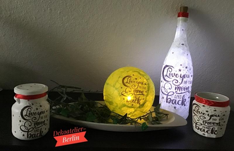 Kleinesbild -  Leuchtkugel 12 cm ♥ Einzigartig♥ Geschenk ♥ upcycling ♥ Unikat  - I love you . . .