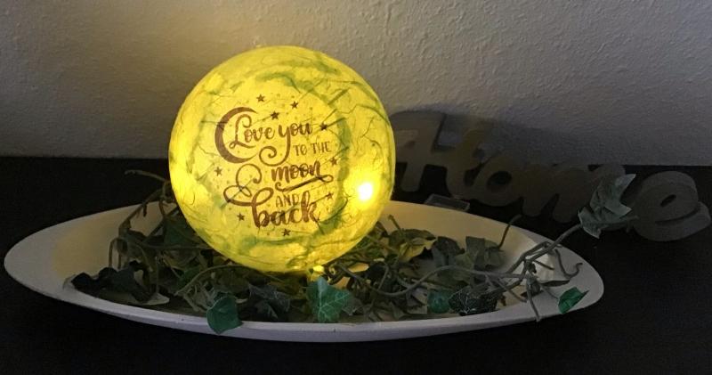 -  Leuchtkugel 12 cm ♥ Einzigartig♥ Geschenk ♥ upcycling ♥ Unikat  - I love you . . . -  Leuchtkugel 12 cm ♥ Einzigartig♥ Geschenk ♥ upcycling ♥ Unikat  - I love you . . .