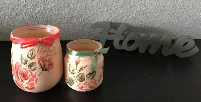 Kleinesbild -  2er Set Teelichtglas ♥ Aufbewahrung  ♥️ Geschenk ♥️ upcycling ♥ Unikat - Blumen antik