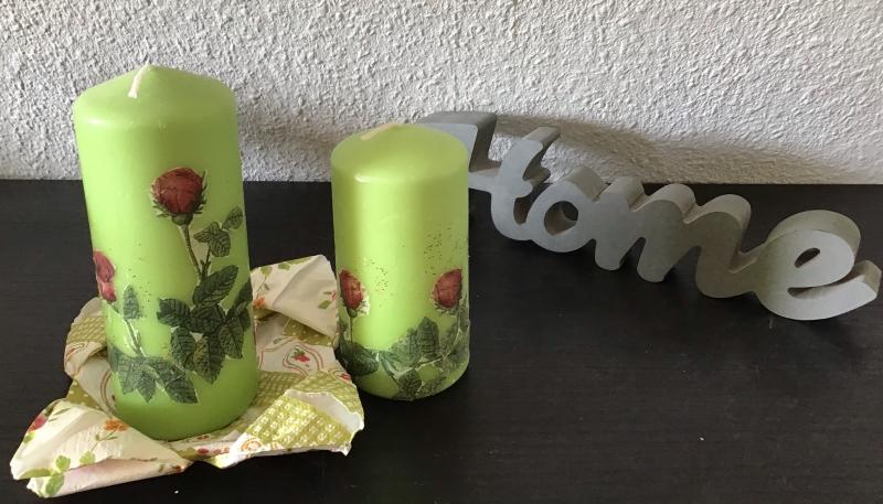 Kleinesbild - Kerzen grün 2er Set ♥ Einzigartig♥ Geschenk ♥ upcycling ♥ Unikat  - Rosen