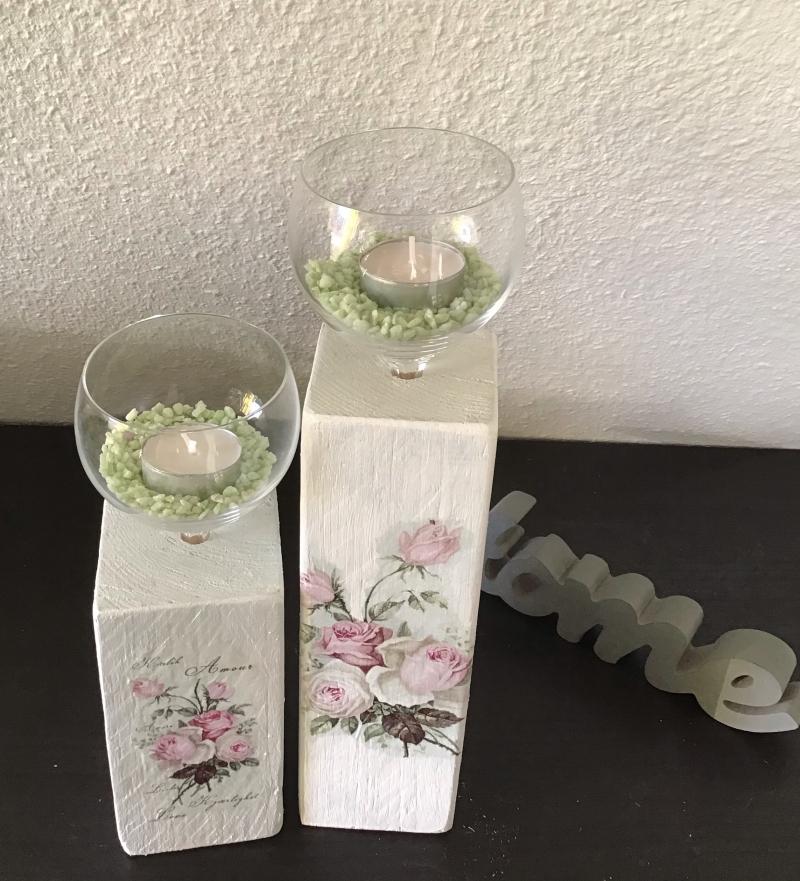 - Kerzenständer  Holz handmade für Balkon und Terrasse ,inkl Gläser,Teelichter und Granulat - Rosen Romantik - Kerzenständer  Holz handmade für Balkon und Terrasse ,inkl Gläser,Teelichter und Granulat - Rosen Romantik