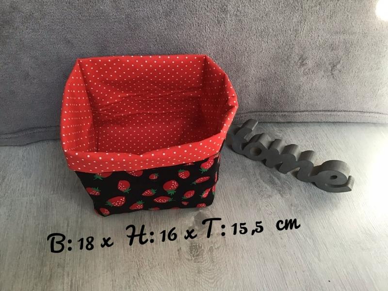 Kleinesbild - 2er Set Utensilo  ❤️ Aufbewahrung ♥️ Geschenk  ❤️ Unikat - Erdbeeren schwarz