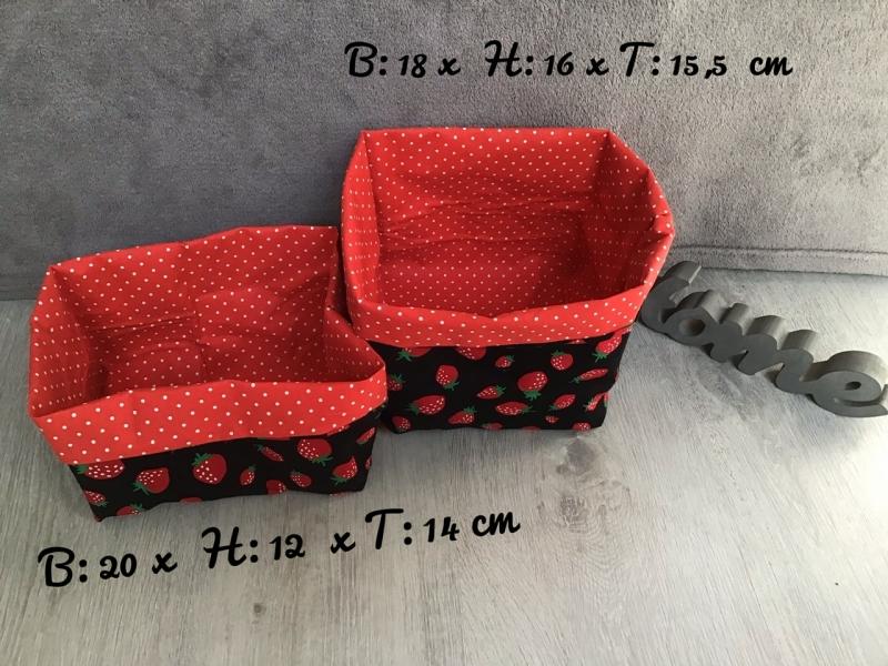 - 2er Set Utensilo  ❤️ Aufbewahrung ♥️ Geschenk  ❤️ Unikat - Erdbeeren schwarz - 2er Set Utensilo  ❤️ Aufbewahrung ♥️ Geschenk  ❤️ Unikat - Erdbeeren schwarz