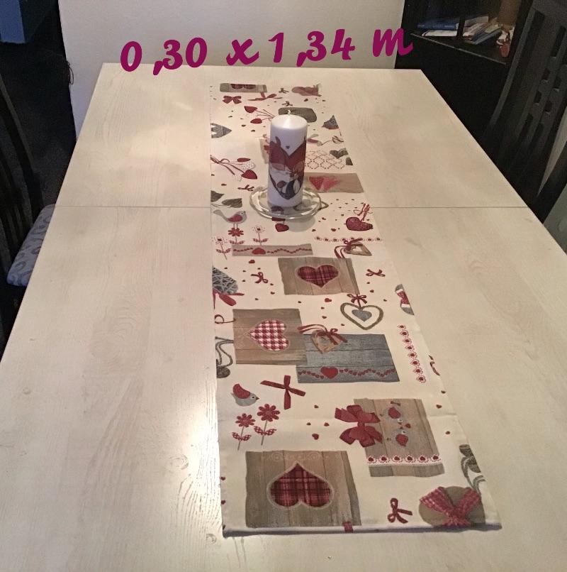 Kleinesbild - Läufer  ❤️ 2er Set ❤️ Tischdecke ❤️ Geschenk ❤️ Deko ❤️  Unikat - Landhausstil rot