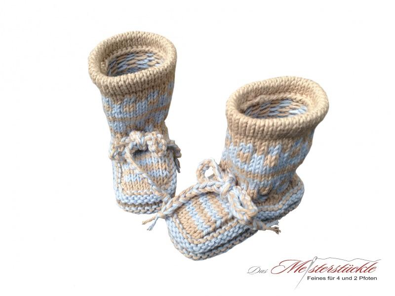 Kleinesbild - Eco-Baumwolle Baby Boots Babysocken gestrickt hellblau beige