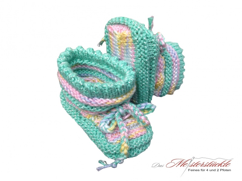 - handgestrickte Erstlingsschuhe Babysocken My first socks Babys first socks mintfarben mit pastell - handgestrickte Erstlingsschuhe Babysocken My first socks Babys first socks mintfarben mit pastell