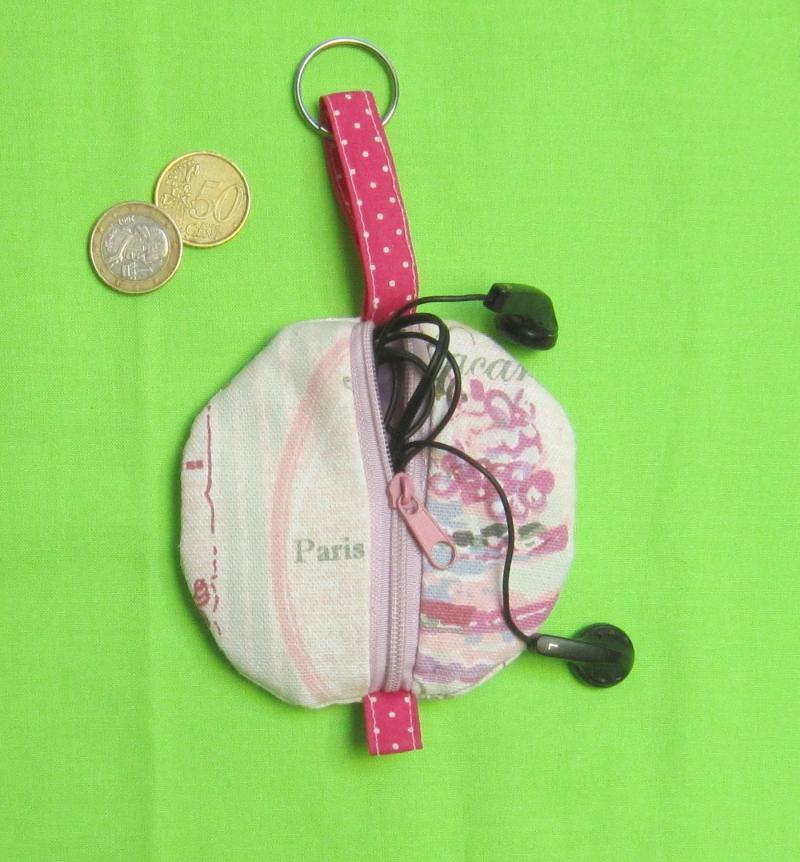 Kleinesbild - Rundes Täschchen, Kopfhörer Tasche, Geldbeutel rund, Schlüssel Mäppchen, Etui, 4 Motive zur Wahl, Handarbeit