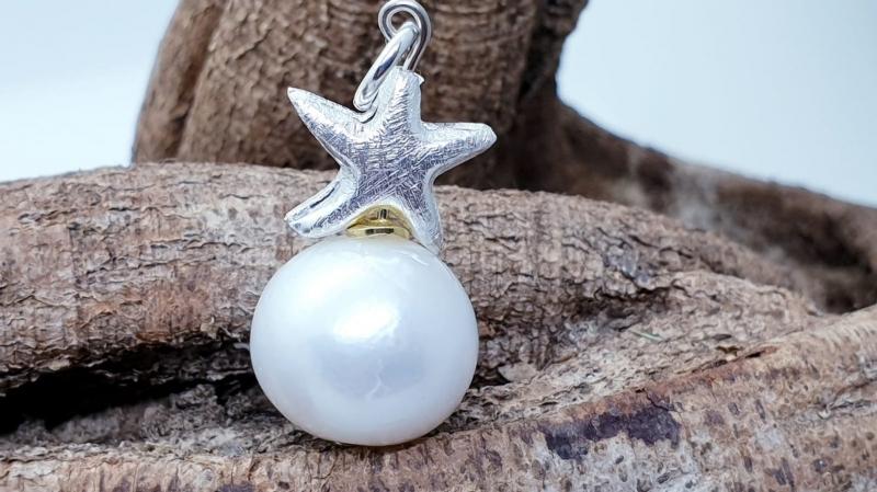 - traumhafter Perlenanhänger mit silbernem Stern - traumhafter Perlenanhänger mit silbernem Stern