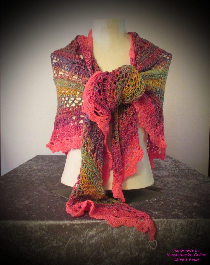 Kleinesbild - Ausgefallenes Häkeltuch ♥ Schultertuch ♥ Dreieckstuch ♥ Lacetuch ♥ Einzelstück ♥ Baumwollmischung ♥ Bunt/Pink