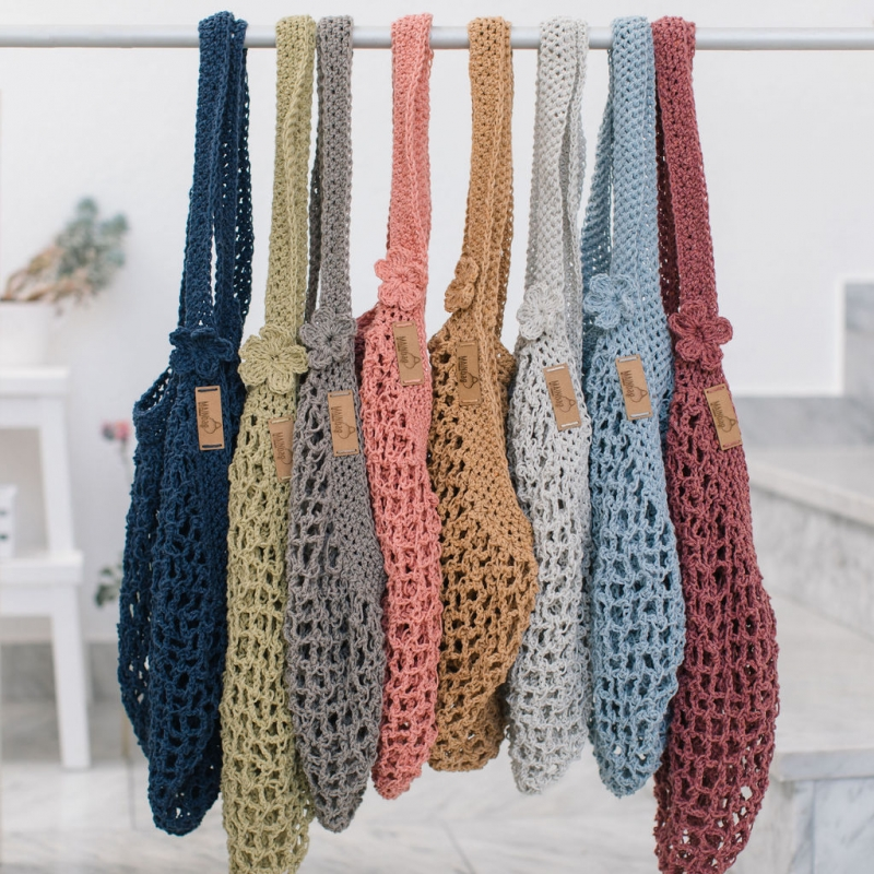 Kleinesbild - MAINbag.Einkaufsnetz * BEMBEL-STYLE * Aus 100% recycelter Baumwolle . 100% handmade . 100% plastikfrei Einkaufen