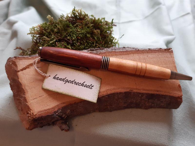 - Apfelholz - Drehkugelschreiber, handgedrechselt Unikat - Apfelholz - Drehkugelschreiber, handgedrechselt Unikat