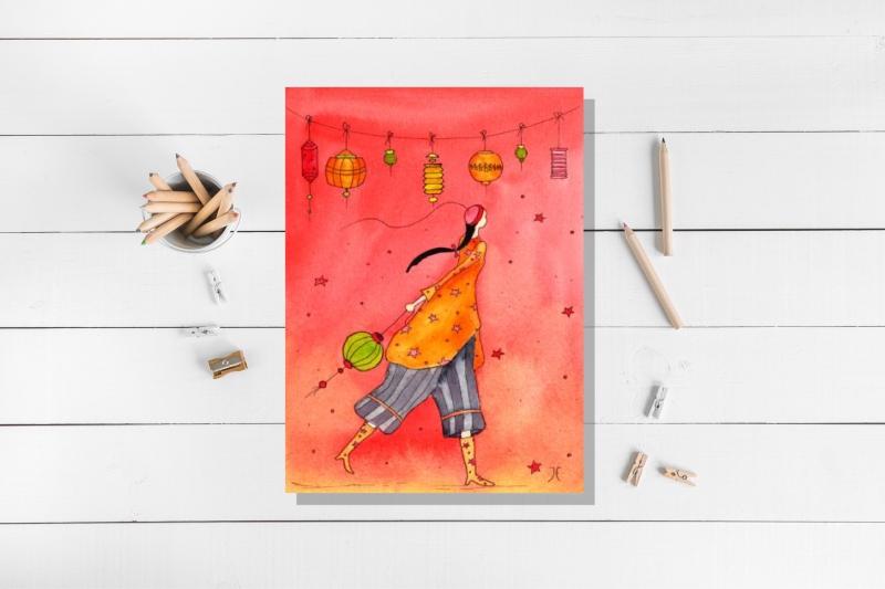 - Kunstkarte incl. Umschlag, Frau Laterne, mit partiellem Glanzlack - Kunstkarte incl. Umschlag, Frau Laterne, mit partiellem Glanzlack
