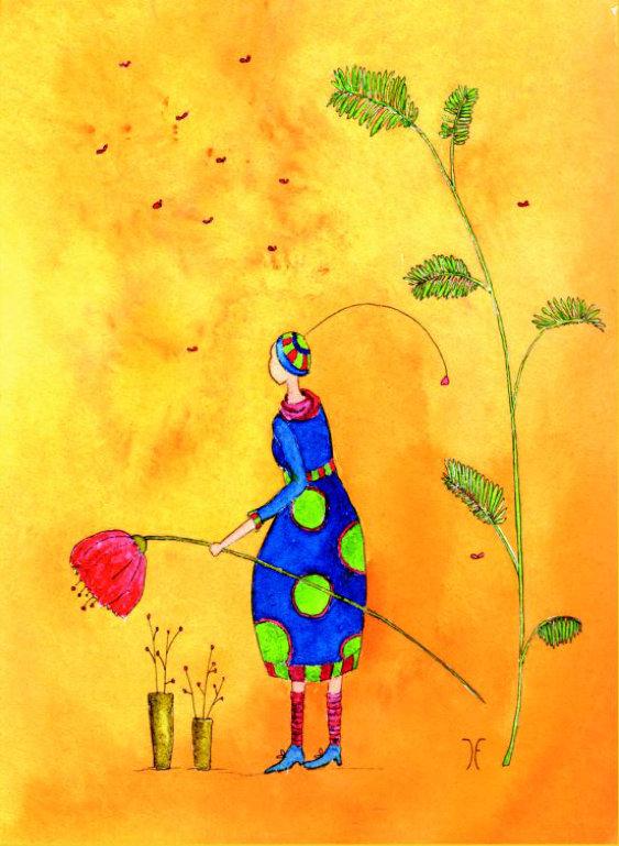 Kleinesbild - Blumenmädchen, Postkarte mit partiellem Glanzlack incl. Umschlag