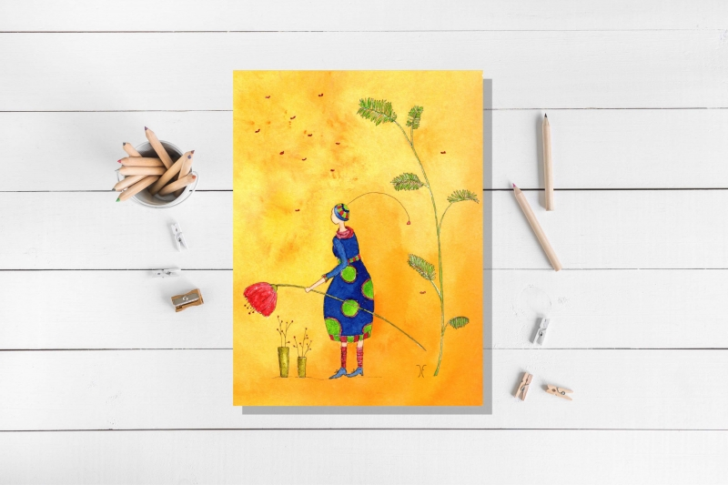 - Blumenmädchen, Postkarte mit partiellem Glanzlack incl. Umschlag - Blumenmädchen, Postkarte mit partiellem Glanzlack incl. Umschlag