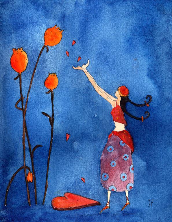 Kleinesbild - Kunstkarte incl. Umschlag, Herzregen, Künstlerpostkarte mit partiellem Lack
