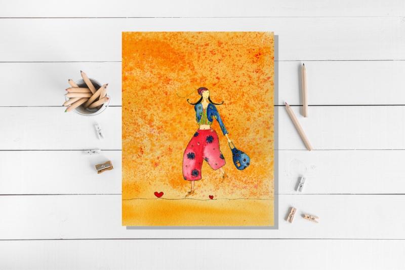 - Kunstkarte incl. Umschlag, Mädchen mit Tasche, Künstlerpostkarte mit partiellem Lack - Kunstkarte incl. Umschlag, Mädchen mit Tasche, Künstlerpostkarte mit partiellem Lack