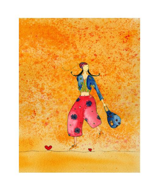 Kleinesbild - Kunstkarte incl. Umschlag, Mädchen mit Tasche, Künstlerpostkarte mit partiellem Lack
