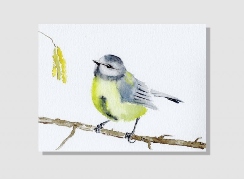Kleinesbild - Fine Art Print des handgemalten Aquarells, Kleine Meise