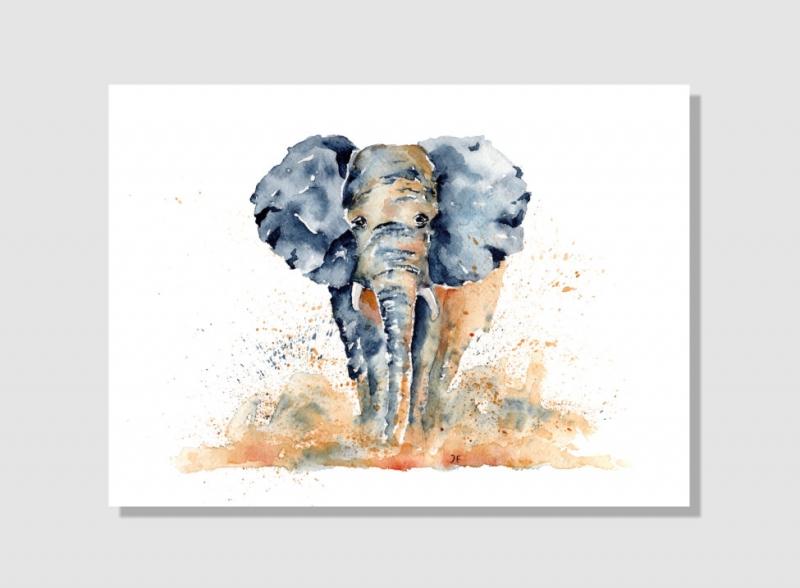 Kleinesbild - Fine Art Print vom Original-Aquarell Elefant