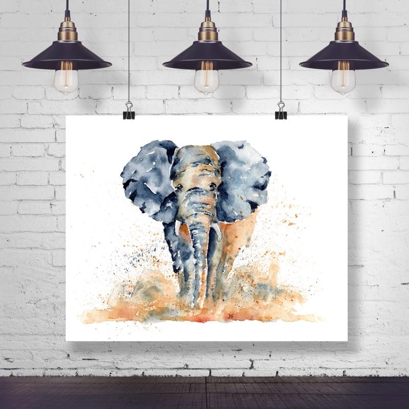 - Fine Art Print vom Original-Aquarell Elefant - Fine Art Print vom Original-Aquarell Elefant