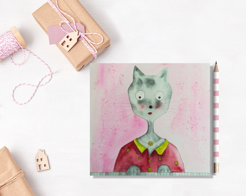 Kleinesbild - Klavierkatze, aquarellierte Kunstpostkarte mit Glanzlack und Umschlag in rot, 14,8x14,8cm