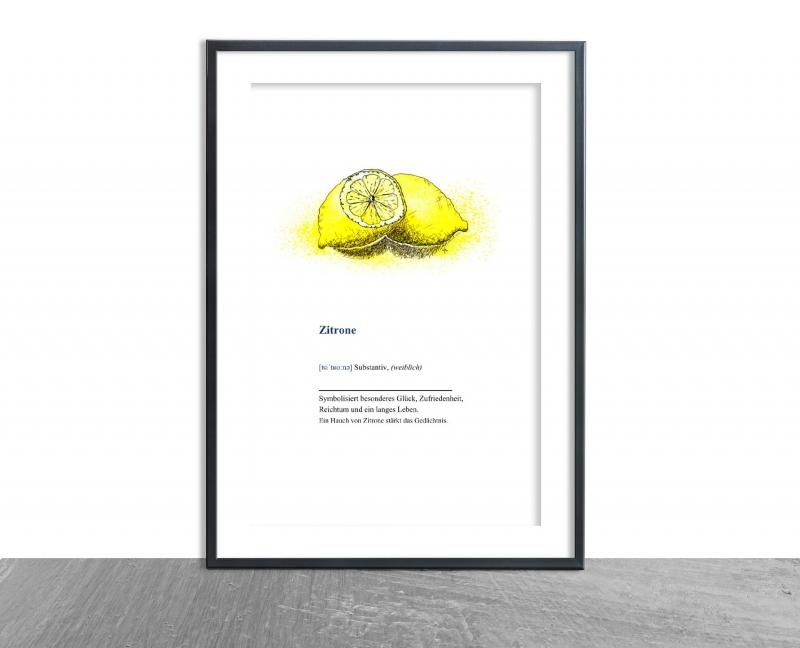 - Wanddekoration Poster Zitrone mit Definition, hochwertiger Kunstdruck A4 - Wanddekoration Poster Zitrone mit Definition, hochwertiger Kunstdruck A4