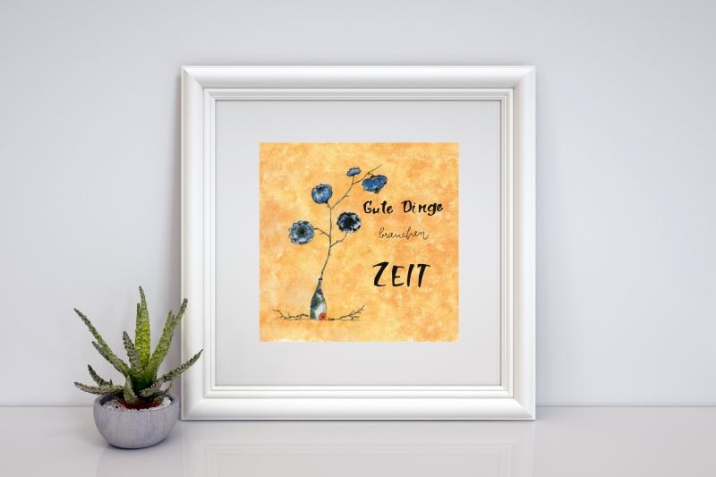 - Aquarellierte Kunstpostkarte mit  Glanzlack beschichtet incl. Briefumschlag , Handlettering - Aquarellierte Kunstpostkarte mit  Glanzlack beschichtet incl. Briefumschlag , Handlettering