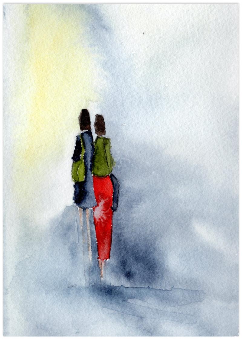 Kleinesbild - Fine Art Print des Original-Aquarells, Zwei Frauen, in verschiedenen Größen erhältlich