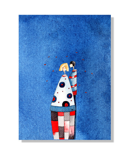 Kleinesbild - Kunstkarte incl. Umschlag, Liebespaar, Künstlerpostkarte mit partiellem Lack