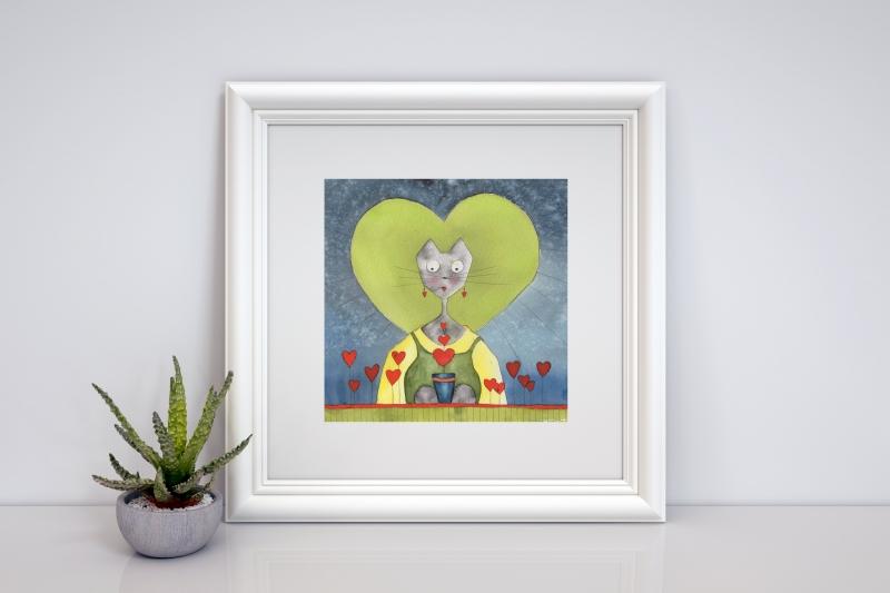 - Liebeskatze, aquarellierte Kunstpostkarte mit Glanzlack und Umschlag in rot, 14,8x14,8cm  - Liebeskatze, aquarellierte Kunstpostkarte mit Glanzlack und Umschlag in rot, 14,8x14,8cm