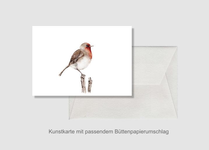 - Kunstkarte incl. Büttenumschlag Fine Art Print des Aquarelles, Rotkehlchen - Kunstkarte incl. Büttenumschlag Fine Art Print des Aquarelles, Rotkehlchen