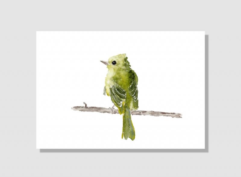 Kleinesbild - Fine Art Print des handgemalten Aquarells, Grünfink
